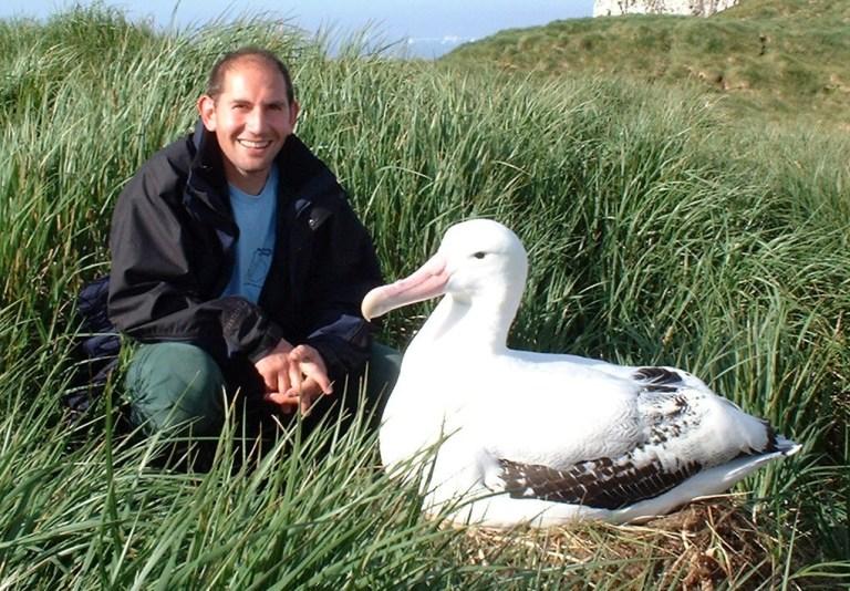 Richard Phillips with an albatross on Bird Island, South Georgia. © Richard Phillips