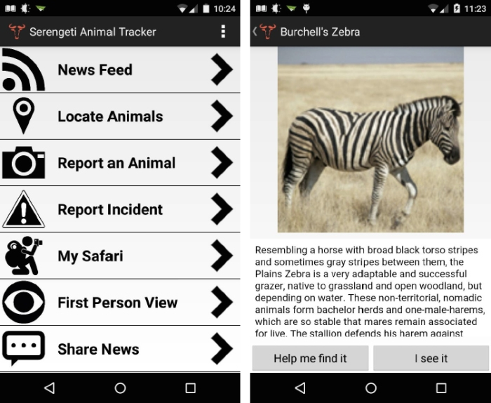 Left: Main screen of app. Right: Animal directory