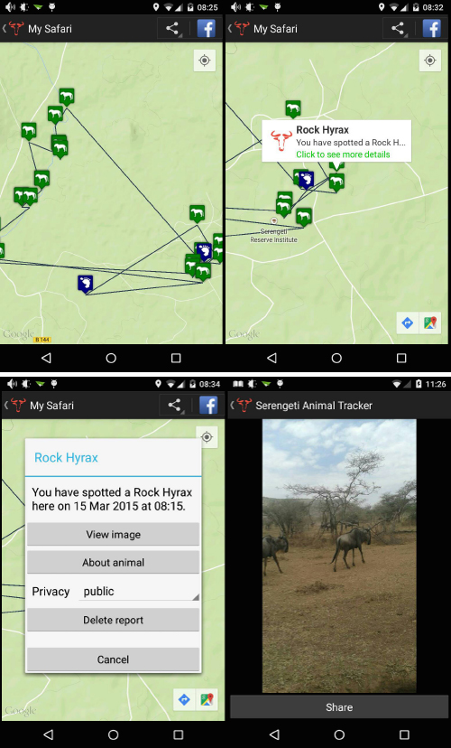 Screenshots of app 'My Safari' option