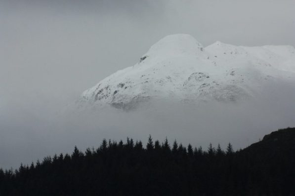 Ben Lomond painted white in winter snows. © Angus Lothian