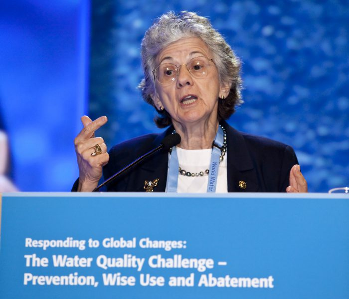 Colwell speaks at the opening session for 2010 Stockholm Water Prize, which she was awarded that year. waterworldweek [], via Flickr.