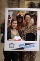 Modern day: Freshers Fair 2015, President Richard, Secretary Kelsey and Publicity Kelvin. ©Richard Thompson