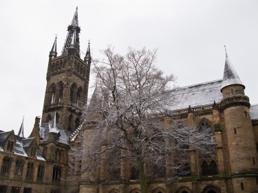 Glasgow University tower taken from the East Quadrangle. Euphbass [CC BY-NC-ND 2.0], via Flickr