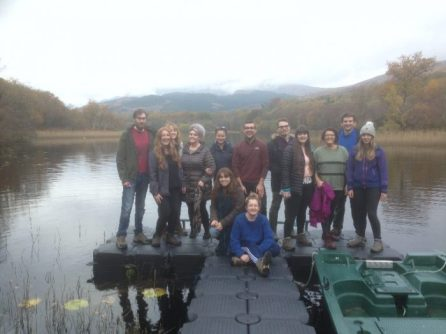 The 2016-2017 MRes students visit the Dubh Loch on a frosty Scottish day. © Dominic McCafferty