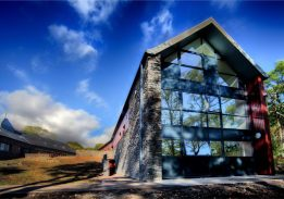 The Harry Slack Teaching Building, opened in 2014, provides accommodation, lab space, and a dining hall to visiting groups. © Scottish Centre for Ecology and the Natural Environment