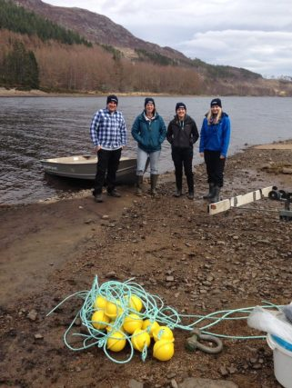The SCENE tracking crew, ready to start the field season with range testing in Loch Achonachie, in the north Highlands. Photo by Simon McKelvey.